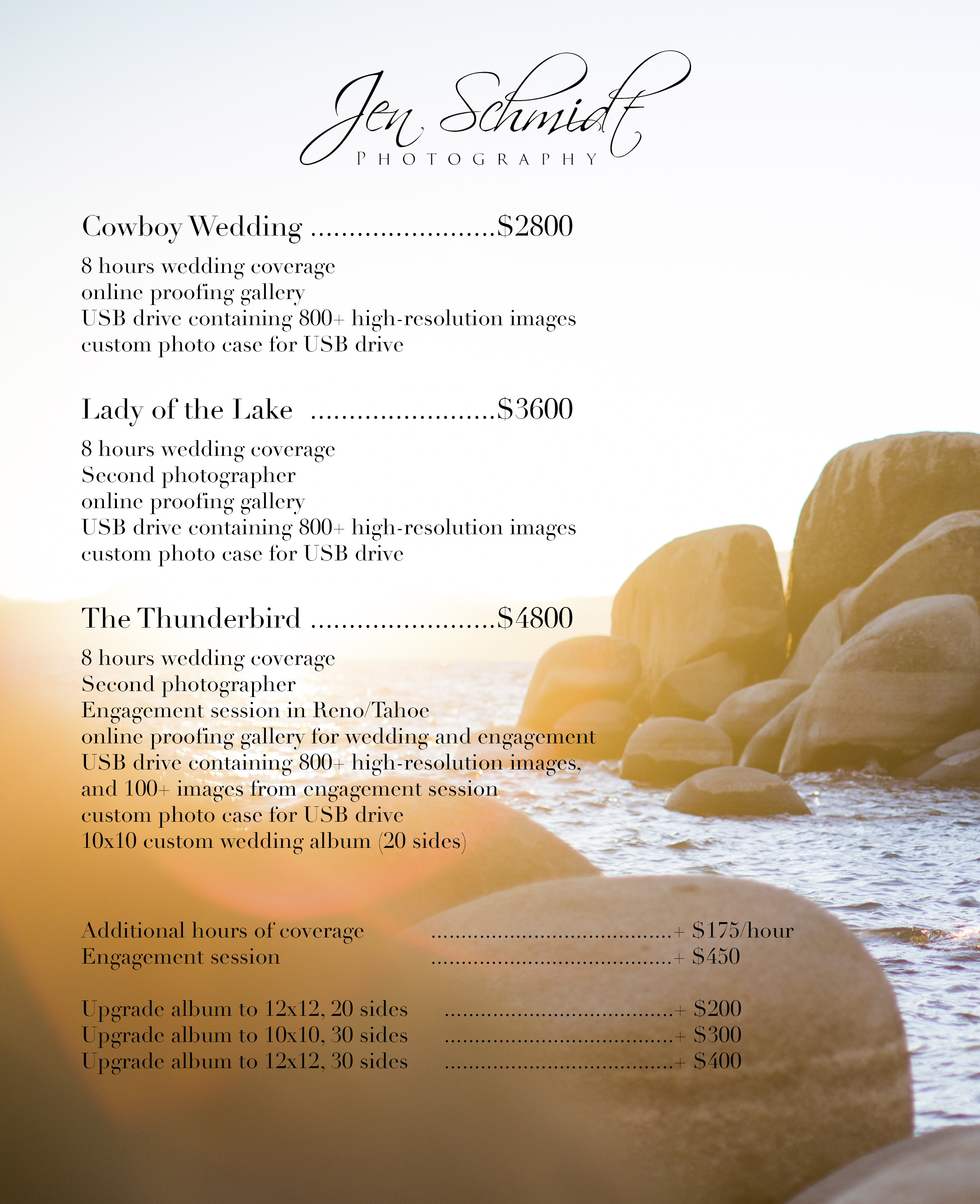 Jen Schmidt Tahoe Wedding Packages 2014 A